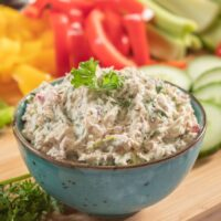 Sardine dip surrounded by vegetables