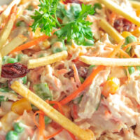 Brazilian chicken salad closeup
