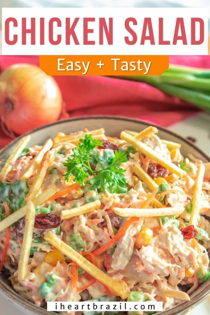 Brazilian chicken salad Pinterest graphic