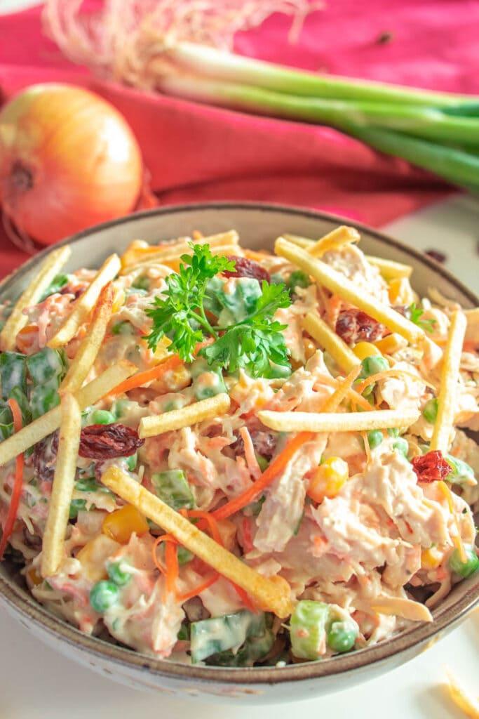 Brazilian chicken salad is also known as Salpicão de frango in Brazil