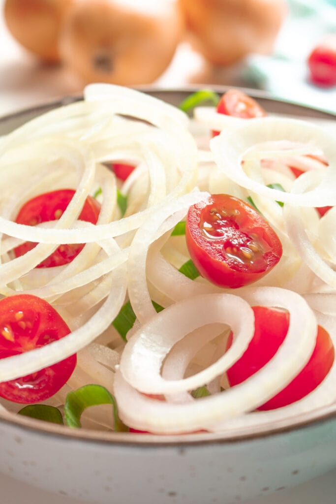 Brazilian onion salad closeup