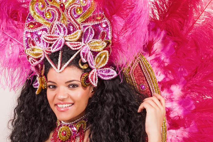 Brazilian woman wearing pink Carnival costume