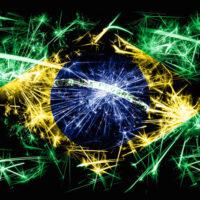 Brazilian flag made of fireworks