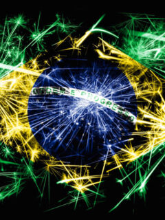Brazilian flag made of fireworks