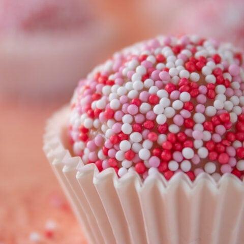 Close up of strawberry brigadeiro
