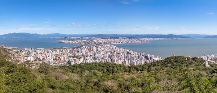 Panoramic view from Morro da Cruz Lookout over Florianopolis