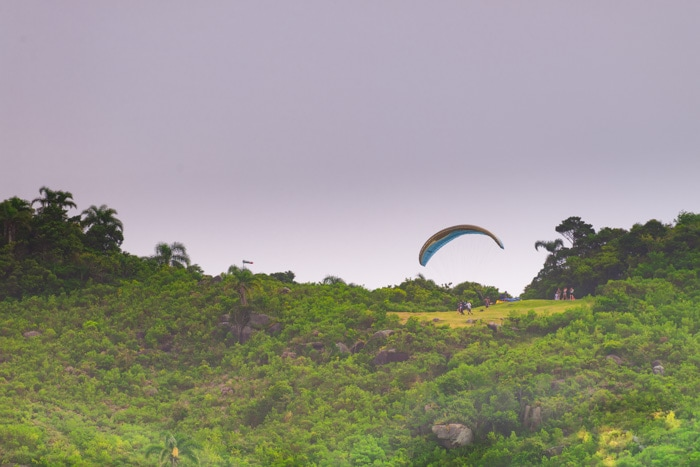 Paragliding at the Brava beach in Florianopolis