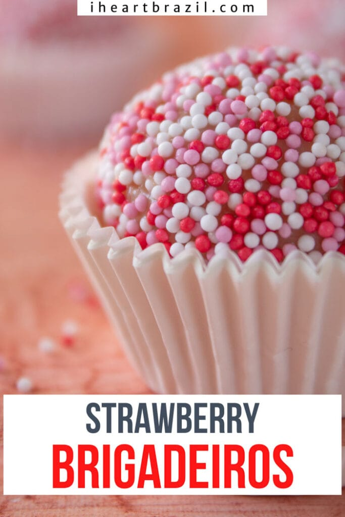 Strawberry brigadeiro Pinterest graphic