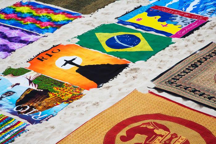 Brazilian beach towel on Ipanema Beach in Rio de Janeiro