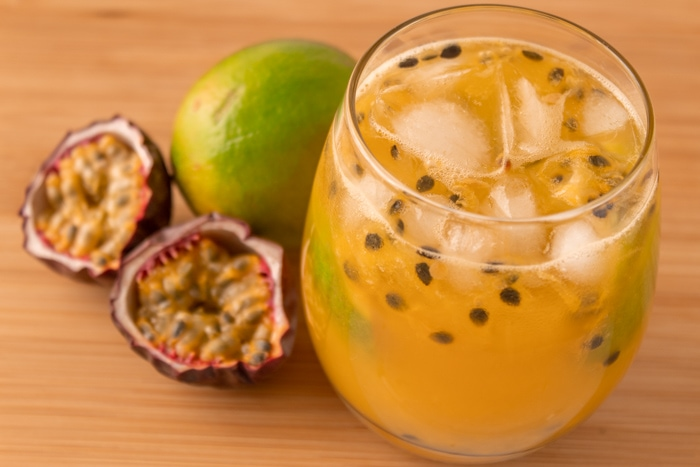 Passion fruit caipirinha cocktail