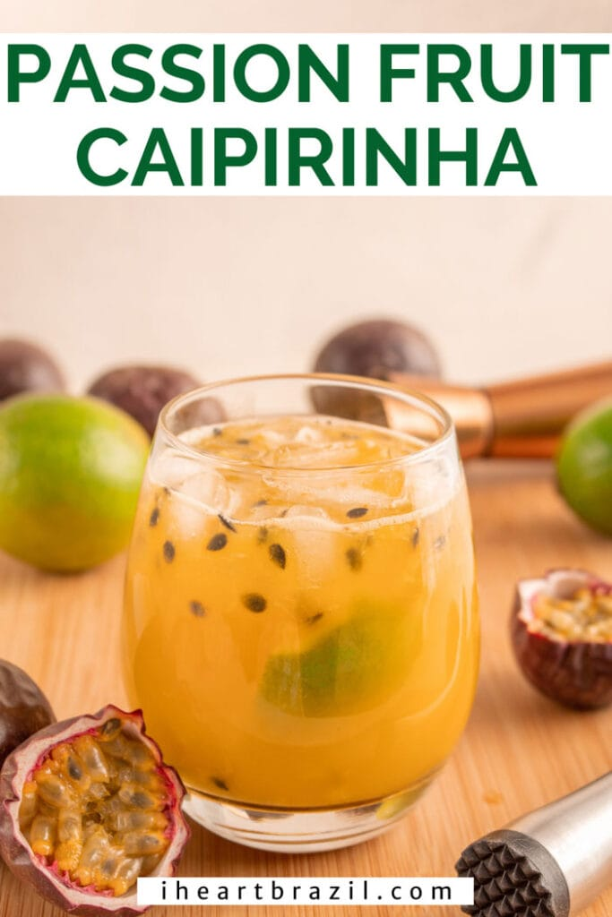 Passion fruit caipirinha Pinterest graphic