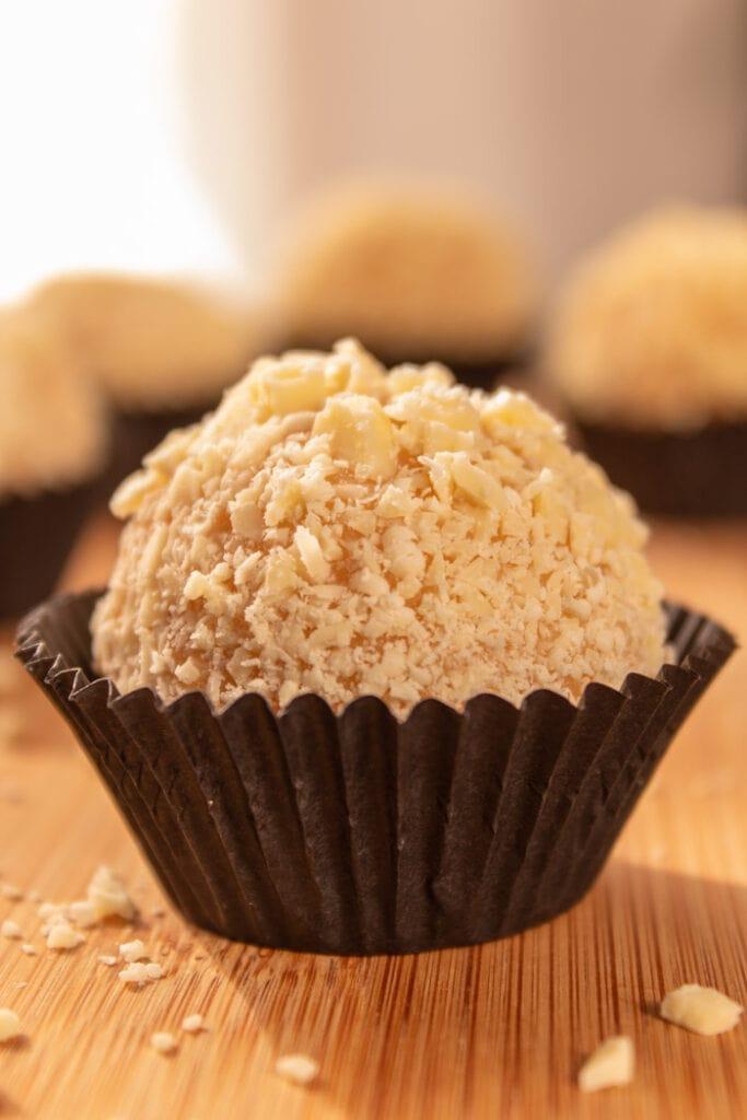 White chocolate brigadeiro truffles