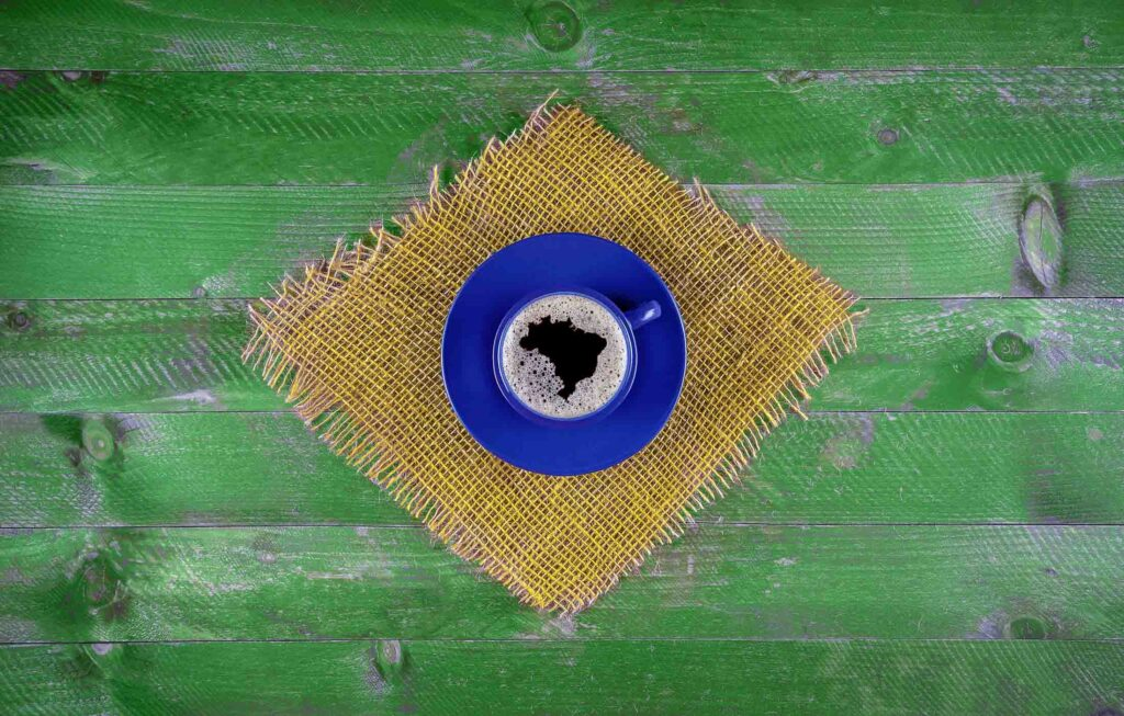 Brazilian flag made of a cup of coffee