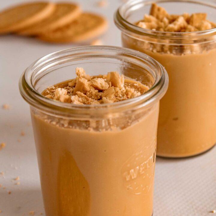 Glasses of Dulce de leche pudding