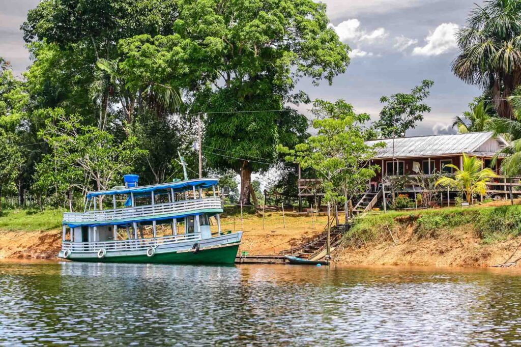 Wooden boat on the Amazon River, Brazil