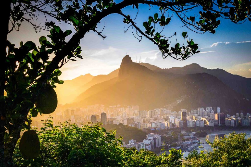 Christ the Redeemer in the horizon during sunset in Rio de Janeiro