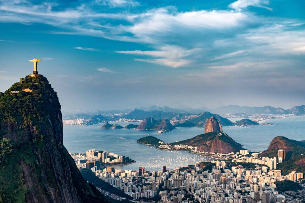 Aerial view of Christ the Redeemer and Sugarloaf Mountain in Rio de Janeiro