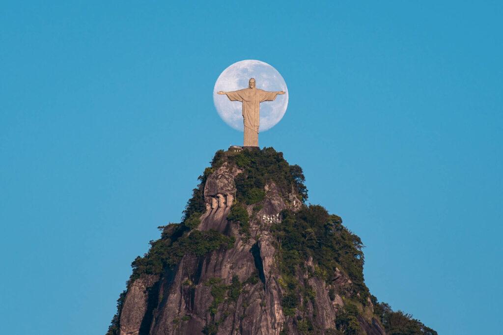 Moon behind Christ the Redeemer Statue