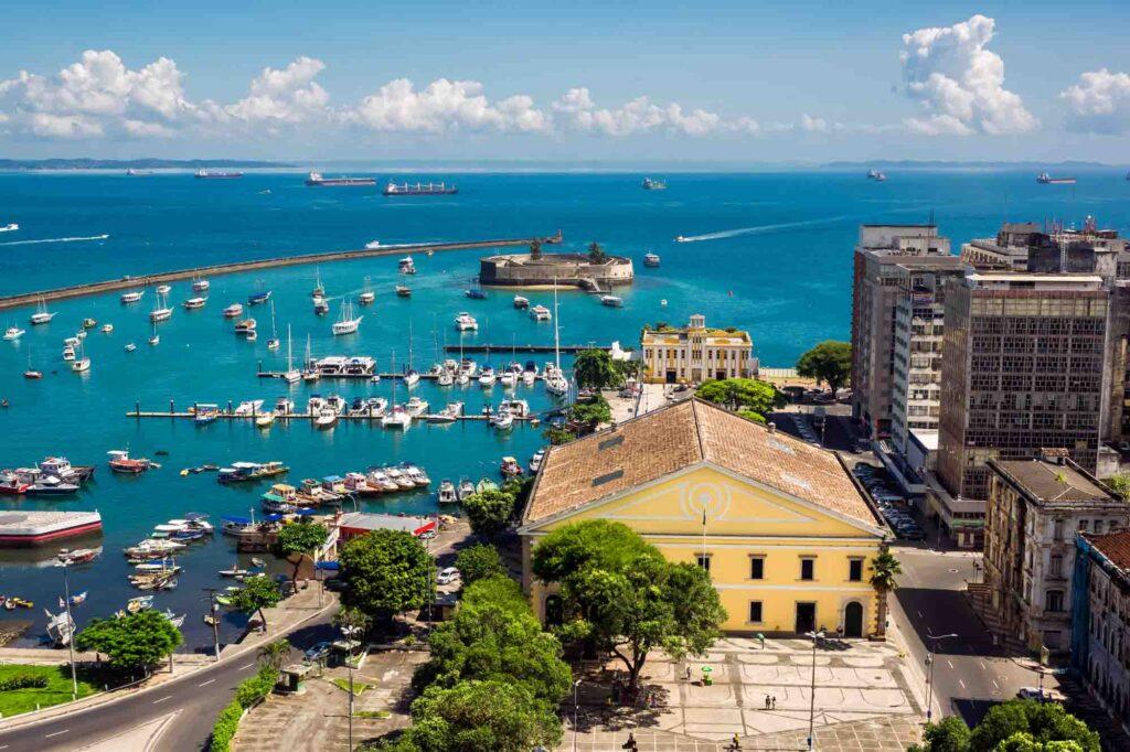 Aerial view of All Saints Bay (Baia de Todos os Santos) in Salvador, Bahia, Brazil.