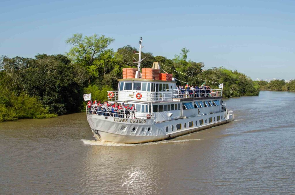 Taking a boat tour through the Guaíba River is one of teh best things to do in Porto Alegre, Brazil