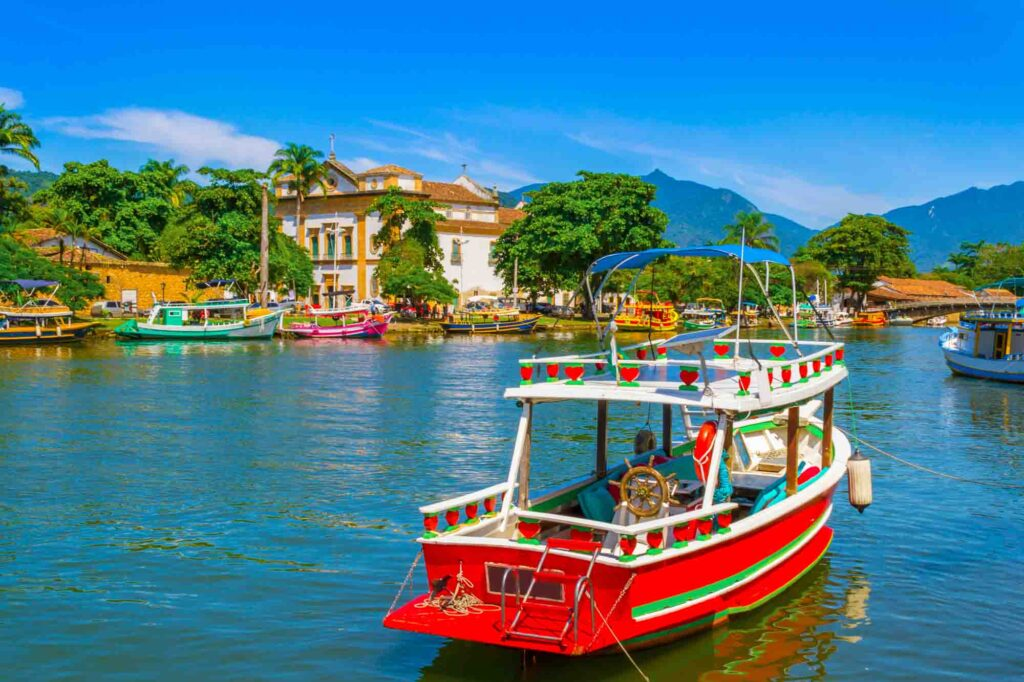 Taking a boat trip on Paraty Bay is one of the cool things to do in Paraty, Brazil