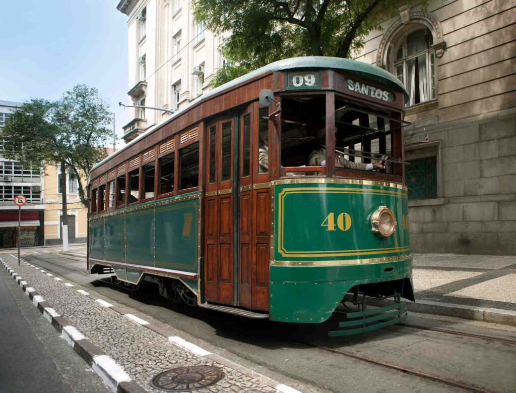 Seeing attractions on the Tourist Streetcar is one of the fun things to do in Santos, Brazil