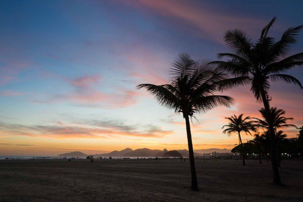 Sunset on Santos Beach, Brazil.